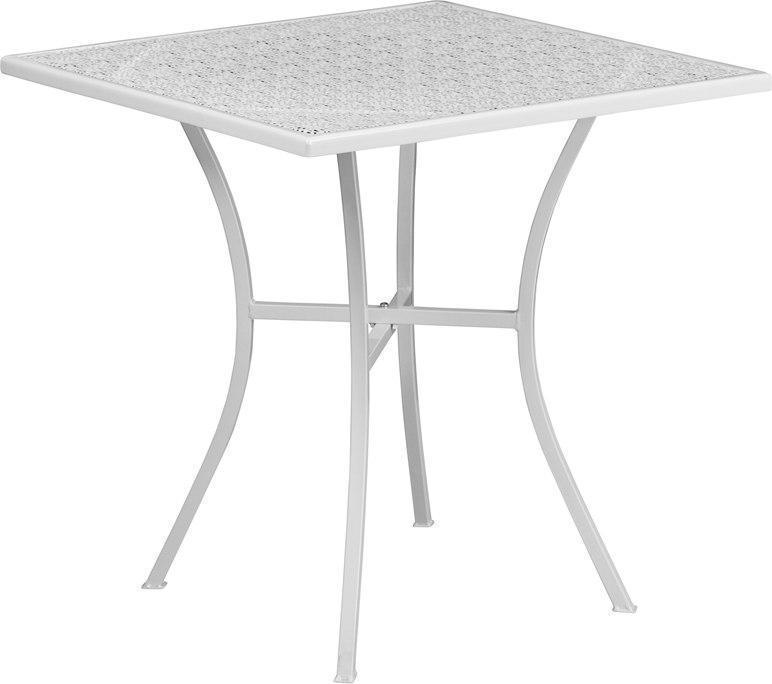 28'' Square White Indoor-Outdoor Steel Patio Table CO-5-WH-GG by Flash Furniture