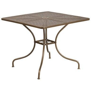 35.5SQ Gold Patio Table CO-6-GD-GG by Flash Furniture
