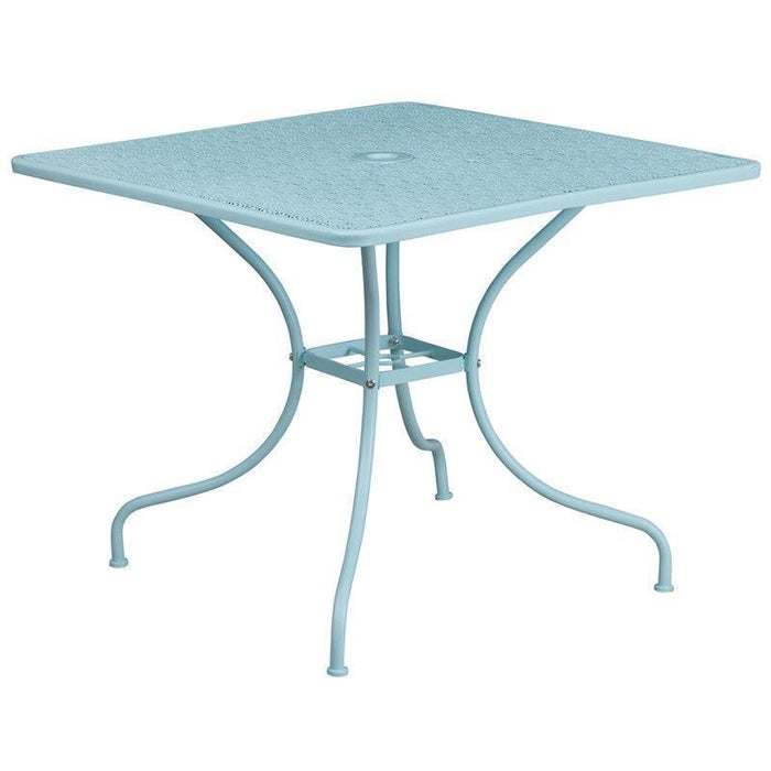 35.5'' Square Sky Blue Indoor-Outdoor Steel Patio Table CO-6-SKY-GG by Flash Furniture