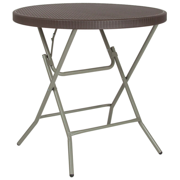 31.5'' Round Brown Rattan Plastic Folding Table DAD-FT-80R-GG by Flash Furniture