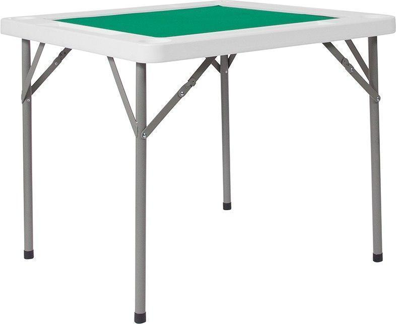 34.5'' Square Granite White Folding Game Table with Green Playing Surface DAD-MJZ-88-GG by Flash Furniture