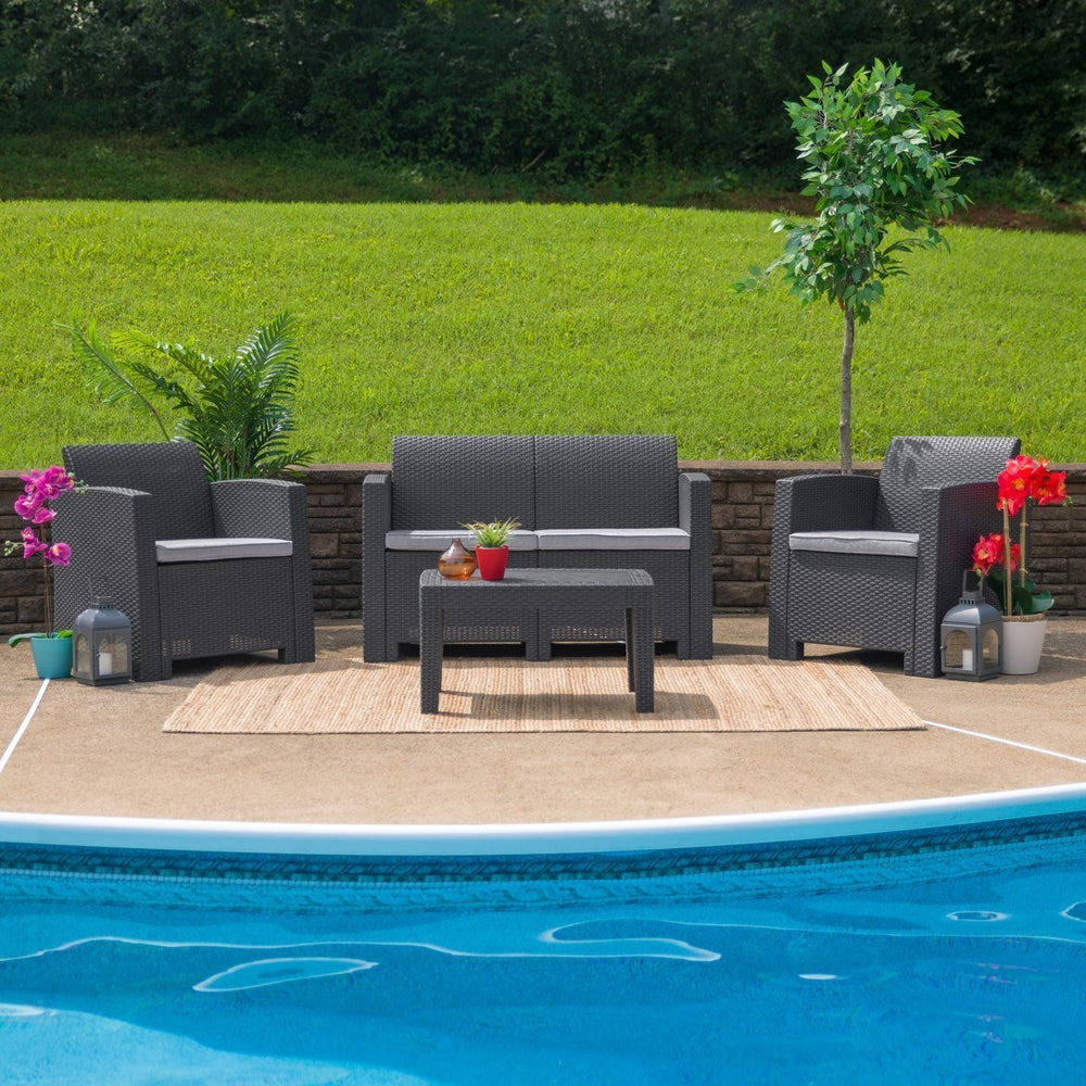 4 Piece Outdoor Faux Rattan Chair, Loveseat and Table Set in Dark Gray DAD-SF-112T-DKGY-GG by Flash Furniture