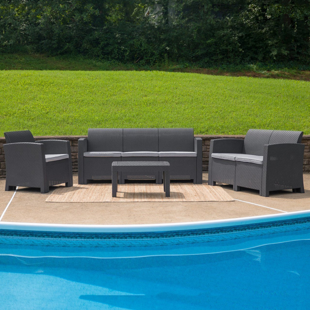 4 Piece Outdoor Faux Rattan Chair, Loveseat, Sofa and Table Set in Dark Gray DAD-SF-123T-DKGY-GG by Flash Furniture