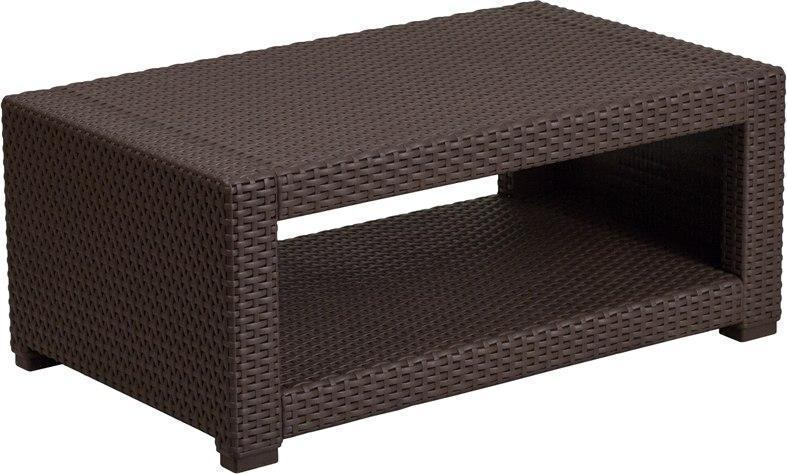 Chocolate Brown Faux Rattan Coffee Table DAD-SF1-R-GG by Flash Furniture