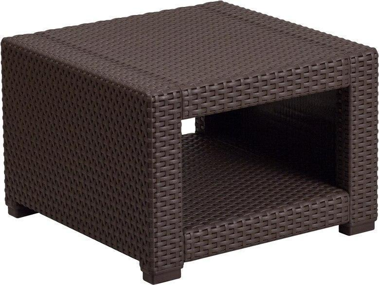 Chocolate Brown Faux Rattan End Table DAD-SF1-S-GG by Flash Furniture