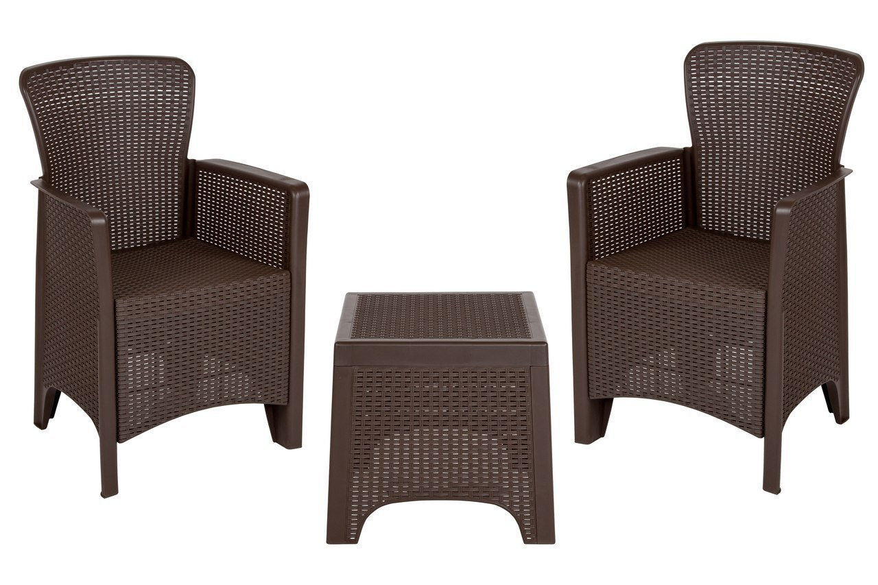 Chocolate Faux Rattan Plastic Chair Set with Matching Side Table DAD-SF3-2P-SET-CHOC-GG by Flash Furniture