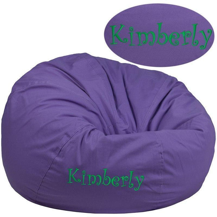 Personalized Oversized Solid Purple Bean Bag Chair DG-BEAN-LARGE-SOLID-PUR-TXTEMB-GG by Flash Furniture