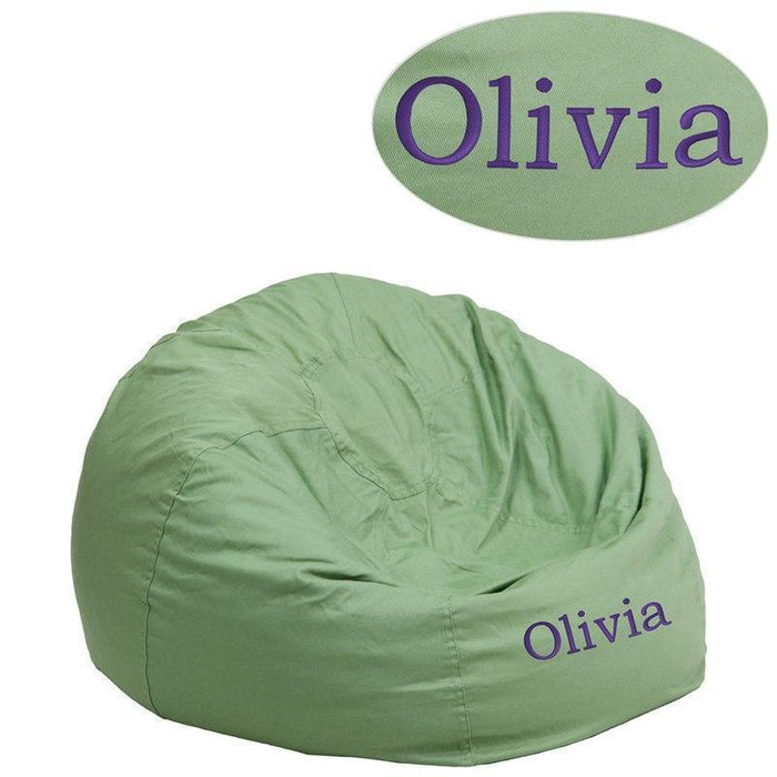 Personalized Small Solid Green Kids Bean Bag Chair DG-BEAN-SMALL-SOLID-GRN-TXTEMB-GG by Flash Furniture