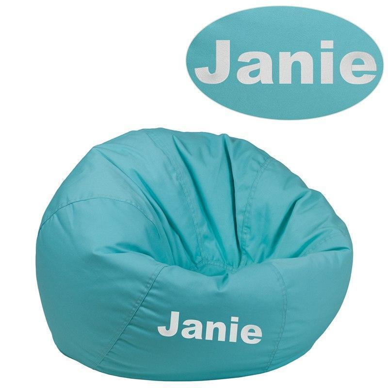 Personalized Small Solid Mint Green Kids Bean Bag Chair DG-BEAN-SMALL-SOLID-MTGN-TXTEMB-GG by Flash Furniture