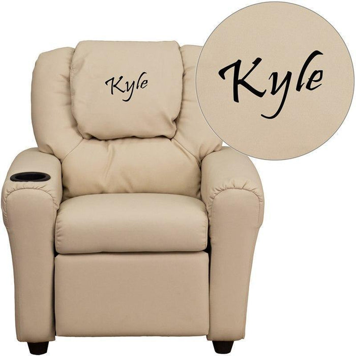 Personalized Beige Vinyl Kids Recliner with Cup Holder and Headrest DG-ULT-KID-BGE-TXTEMB-GG by Flash Furniture