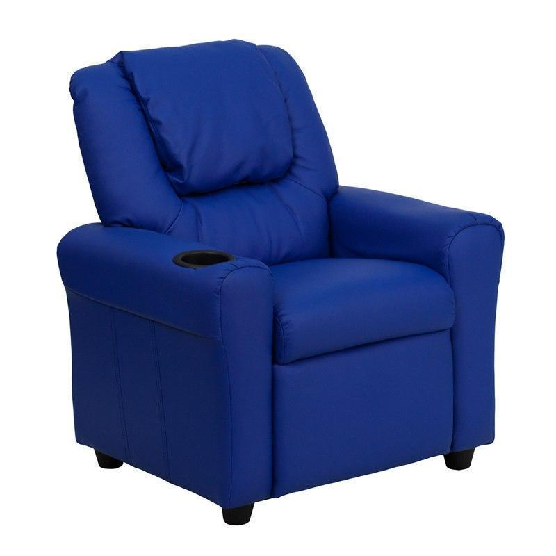 Contemporary Blue Vinyl Kids Recliner with Cup Holder and Headrest DG-ULT-KID-BLUE-GG by Flash Furniture
