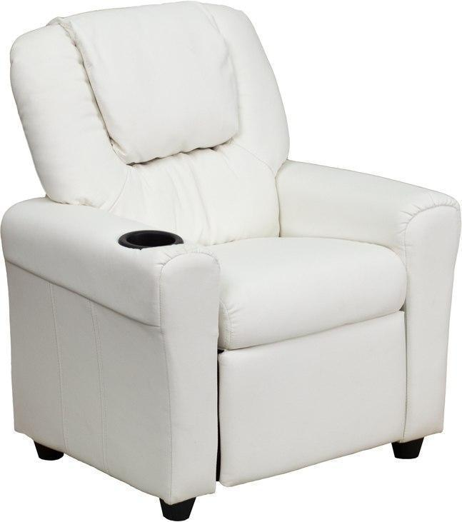 Contemporary White Vinyl Kids Recliner with Cup Holder and Headrest DG-ULT-KID-WHITE-GG by Flash Furniture