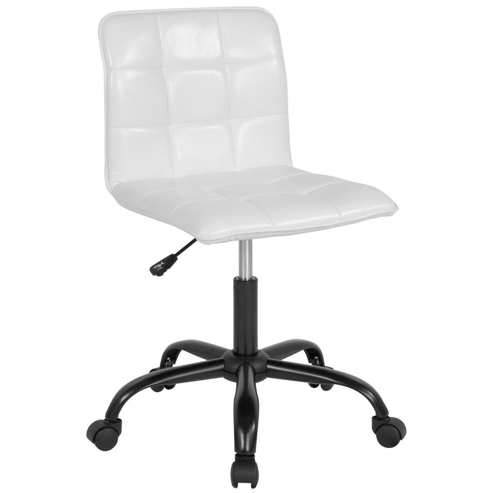 Sorrento Home and Office Task Chair in White Leather DS-512C-WH-GG by Flash Furniture