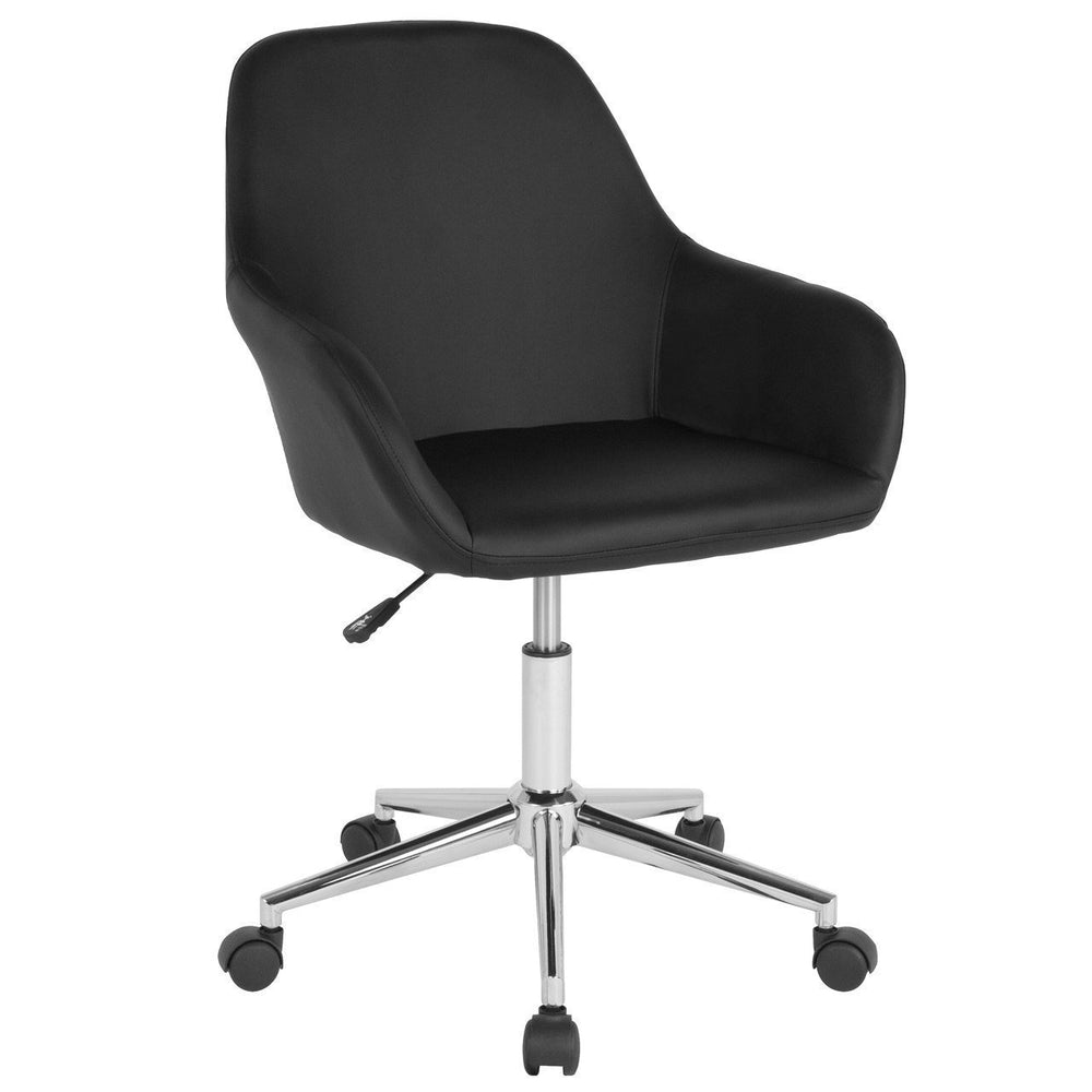 Cortana Home and Office Mid-Back Chair in Black Leather DS-8012LB-BLK-GG by Flash Furniture