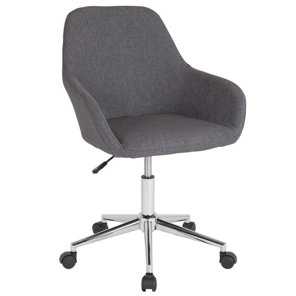 Cortana Home and Office Mid-Back Chair in Dark Gray Fabric DS-8012LB-DGY-F-GG by Flash Furniture