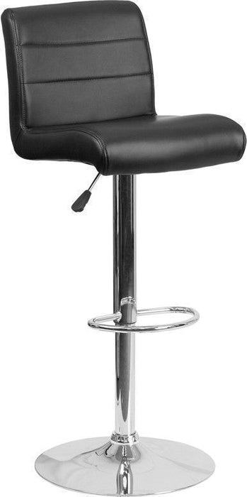 Contemporary Black Vinyl Adjustable Height Barstool with Chrome Base DS-8101B-BK-GG by Flash Furniture