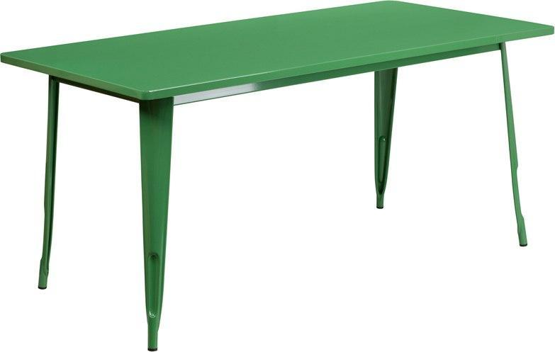 "(LOTS of 12) Flash Furniture ET-CT005-GN-GG 31.5"" x 63"" Rectangular Green Metal Indoor-Outdoor Table"