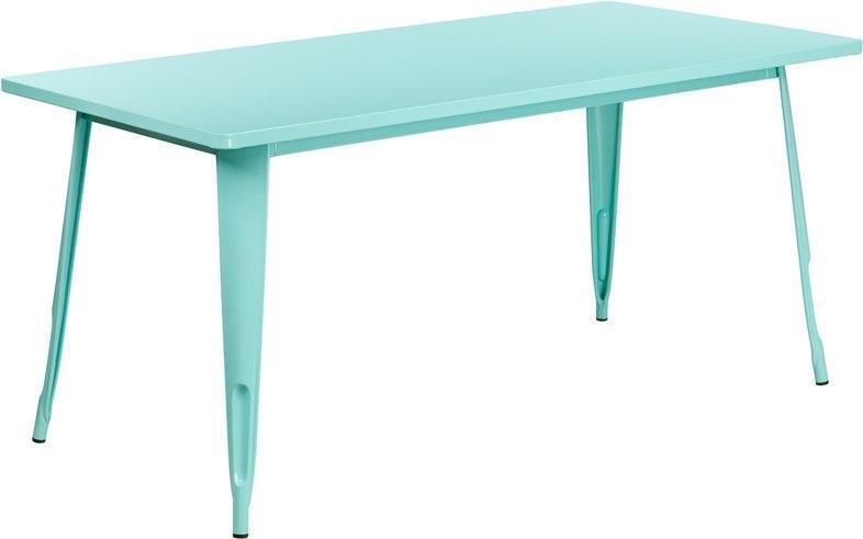 "(LOTS of 12) Flash Furniture ET-CT005-MINT-GG 31.5"" x 63"" Rectangular Mint Green Metal Indoor-Outdoor Table"