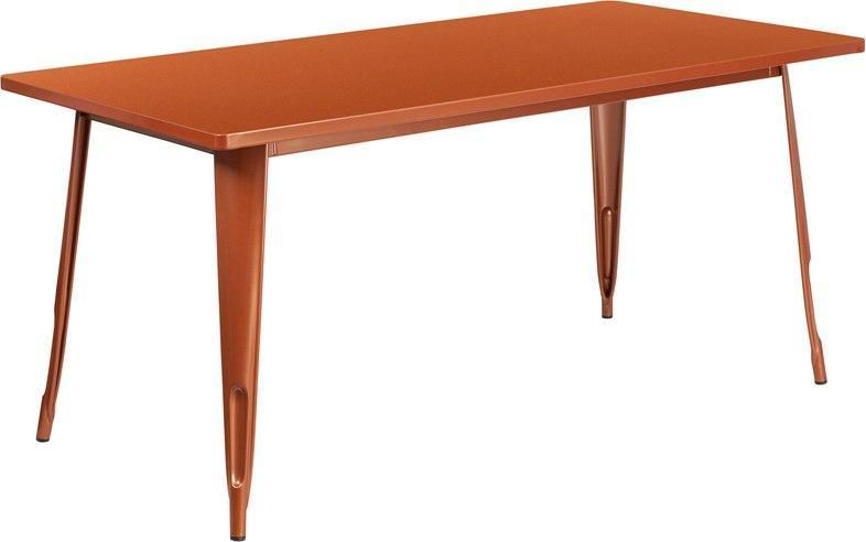 "(LOTS of 12) Flash Furniture ET-CT005-POC-GG 31.5"" x 63"" Rectangular Copper Metal Indoor-Outdoor Table"