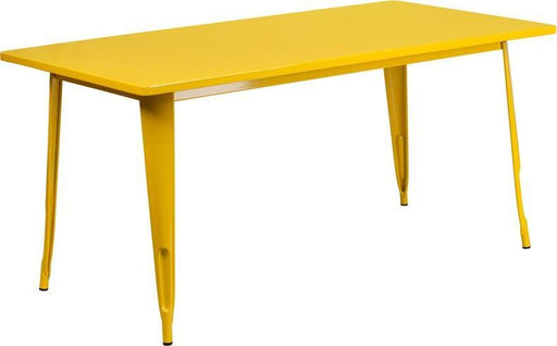 "(LOTS of 12) Flash Furniture ET-CT005-YL-GG 31.5"" x 63"" Rectangular Yellow Metal Indoor-Outdoor Table"