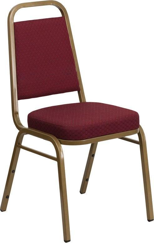 (LOTS of 12) Flash Furniture FD-BHF-1-ALLGOLD-0847-BY-GG HERCULES Series Trapezoidal Back Stacking Banquet Chair in Burgundy Patterned Fabric - Gold Frame