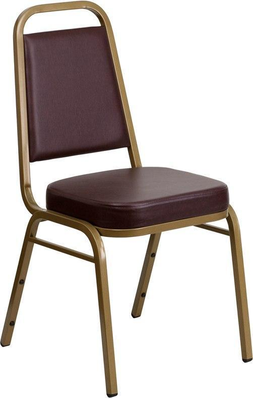 (LOTS of 12) Flash Furniture FD-BHF-1-ALLGOLD-BN-GG HERCULES Series Trapezoidal Back Stacking Banquet Chair in Brown Vinyl - Gold Frame