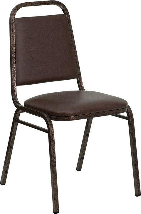 (LOTS of 12) Flash Furniture FD-BHF-2-BN-GG HERCULES Series Trapezoidal Back Stacking Banquet Chair in Brown Vinyl - Copper Vein Frame