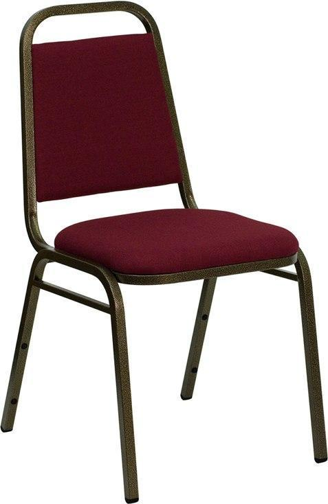 (LOTS of 12) Flash Furniture FD-BHF-2-BY-GG HERCULES Series Trapezoidal Back Stacking Banquet Chair in Burgundy Fabric - Gold Vein Frame