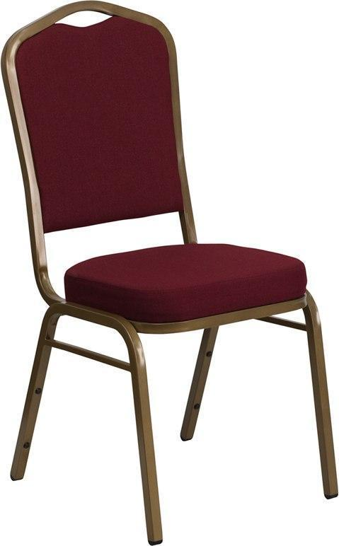 (LOTS of 12) Flash Furniture FD-C01-ALLGOLD-3169-GG HERCULES Series Crown Back Stacking Banquet Chair in Burgundy Fabric - Gold Frame