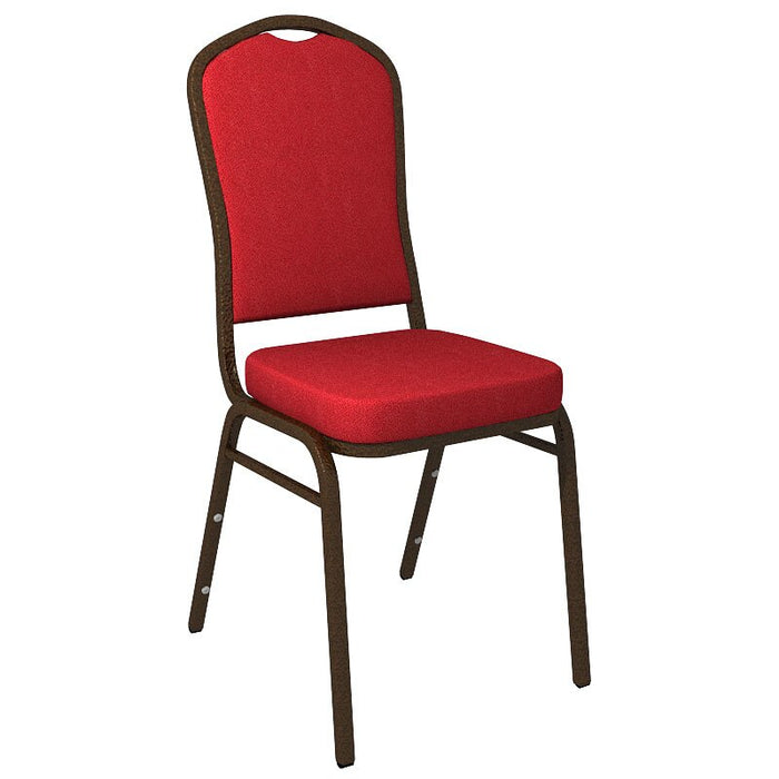 Flash Furniture Crown Back Banquet Chair in Culp Montgomery Red Pepper Fabric - Gold Vein Frame