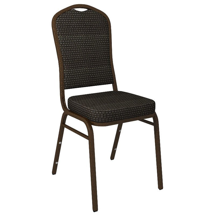 Flash Furniture Crown Back Banquet Chair in Culp Tea Time Ebony Fabric - Gold Vein Frame