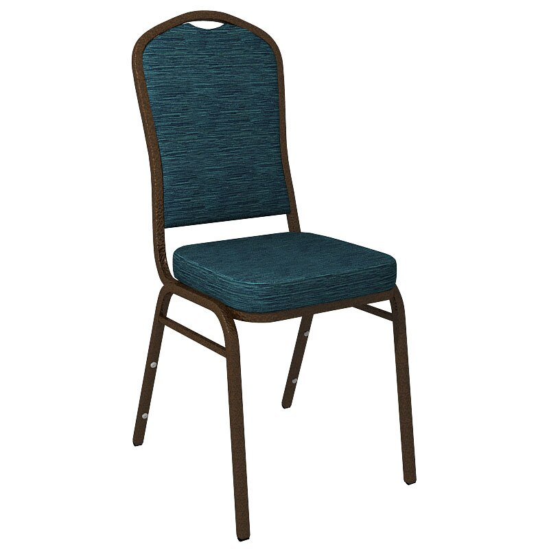Flash Furniture Crown Back Banquet Chair in Culp Winslow Peacock Fabric - Gold Vein Frame
