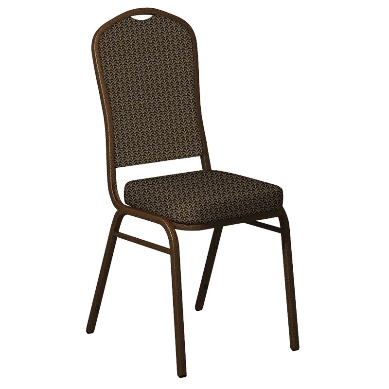 Flash Furniture Crown Back Banquet Chair in Mission Black Gold Fabric - Gold Vein Frame