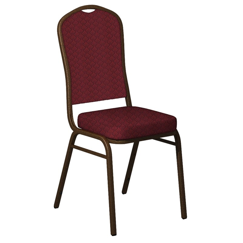 Flash Furniture Crown Back Banquet Chair in Praise Currant Fabric - Gold Vein Frame