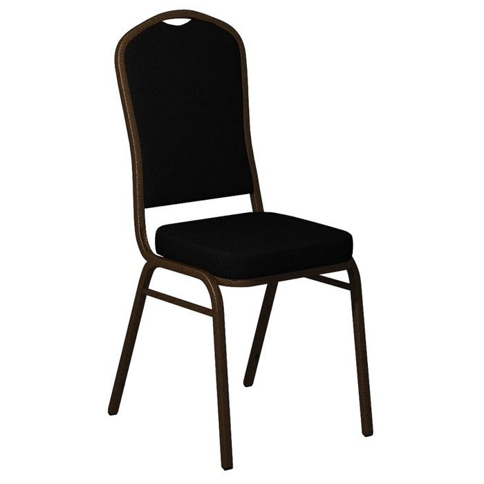 Flash Furniture Crown Back Banquet Chair in Sherpa Black Fabric - Gold Vein Frame