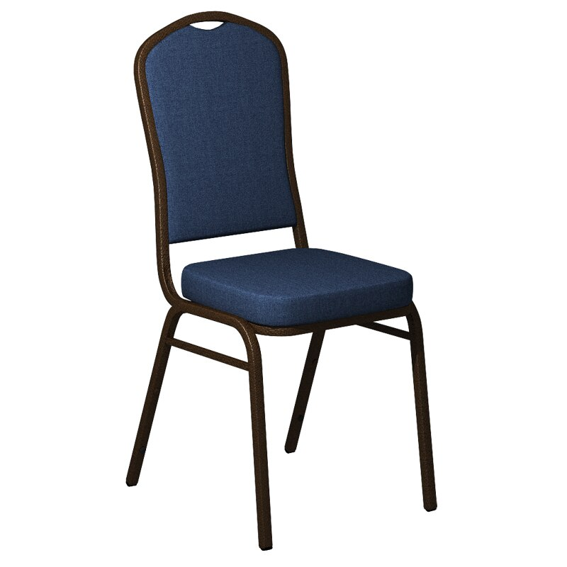 Flash Furniture Crown Back Banquet Chair in Sherpa Denim Fabric - Gold Vein Frame