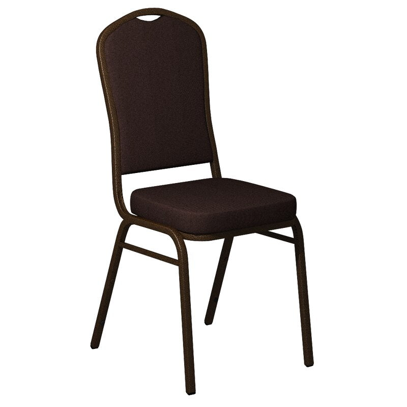 Flash Furniture Crown Back Banquet Chair in Sherpa Mahogany Fabric - Gold Vein Frame
