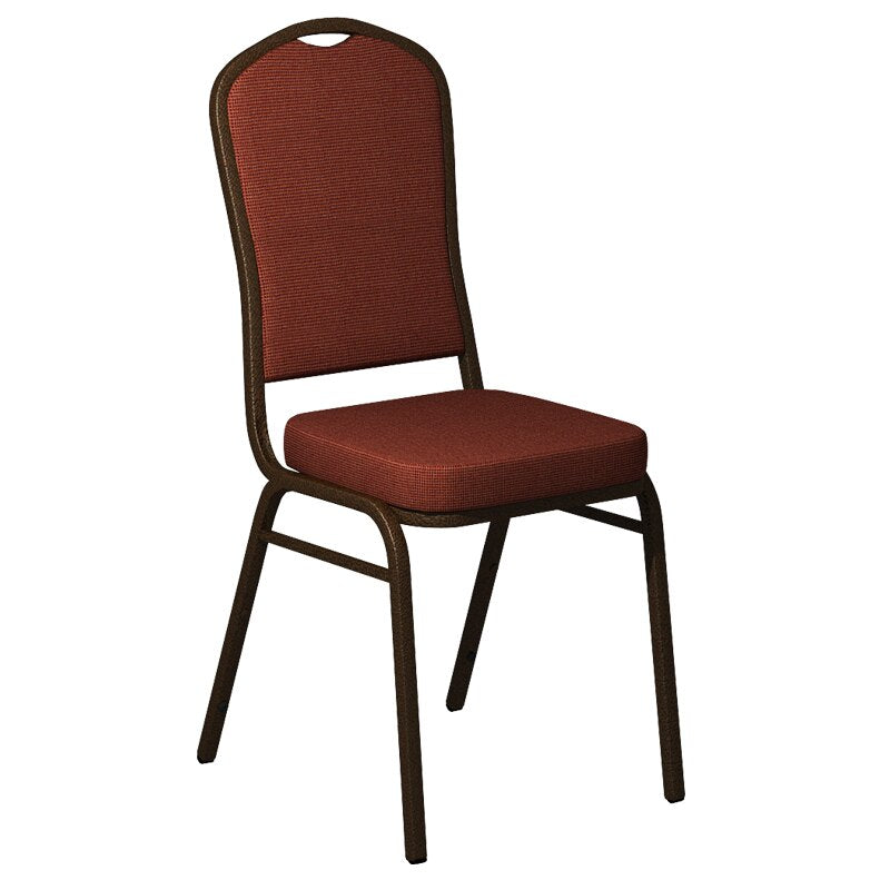 Flash Furniture Crown Back Banquet Chair in Shire Adobe Orange Fabric - Gold Vein Frame