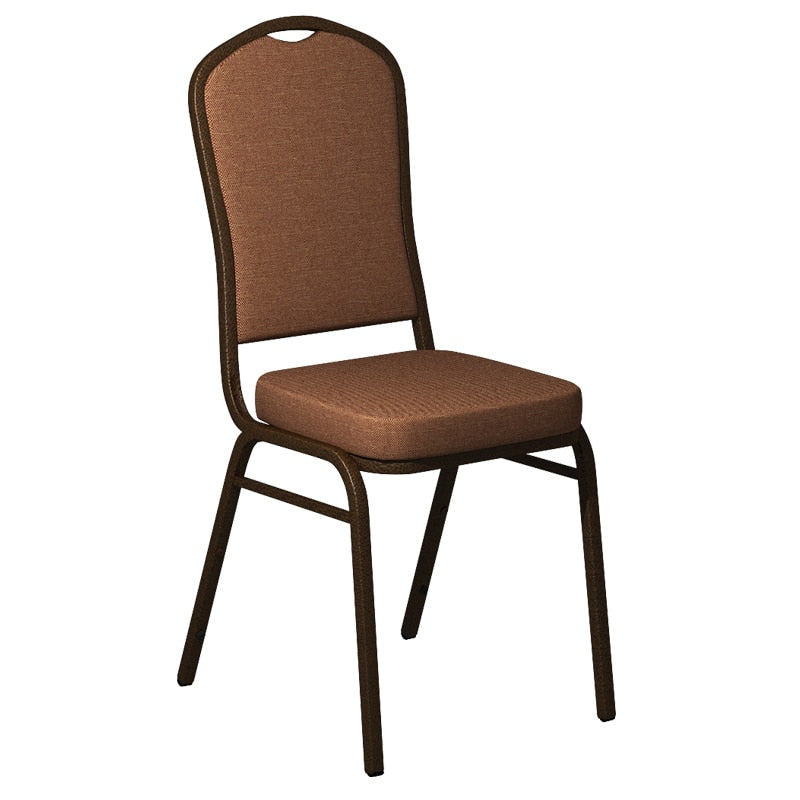 Flash Furniture Crown Back Banquet Chair in Shire Nectar Fabric - Gold Vein Frame