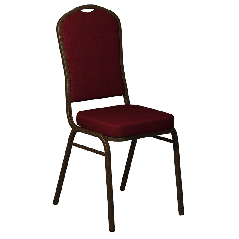 Flash Furniture Crown Back Banquet Chair in Shire Red Rose Fabric - Gold Vein Frame