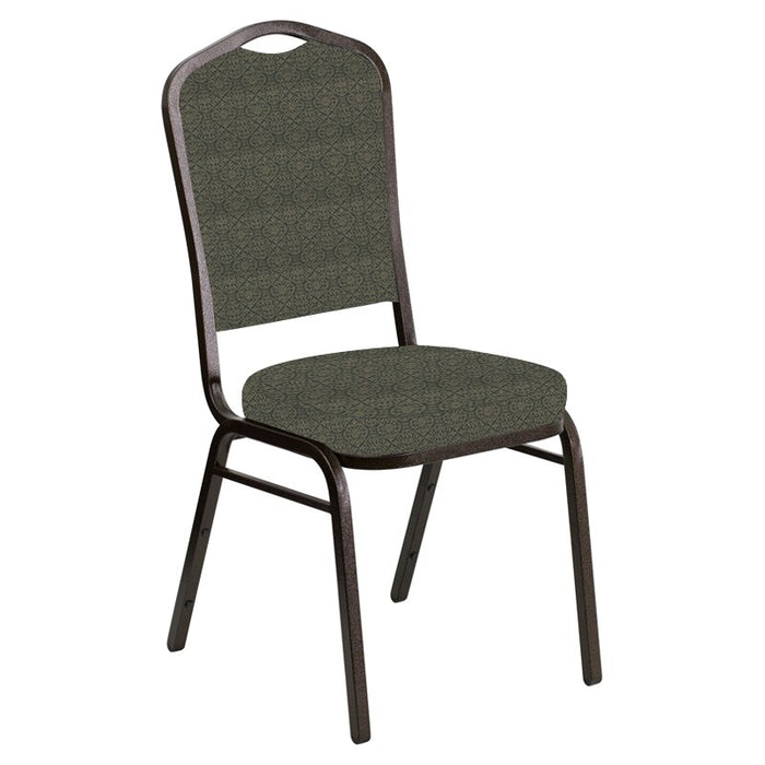 Flash Furniture Crown Back Banquet Chair in Abbey Fern Fabric - Gold Vein Frame