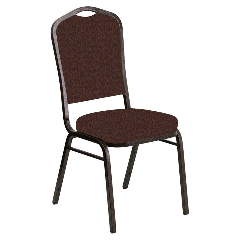 Flash Furniture Crown Back Banquet Chair in Abbey Moss Red Fabric - Gold Vein Frame