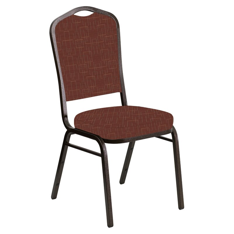 Flash Furniture Crown Back Banquet Chair in Amaze Persimmon Fabric - Gold Vein Frame