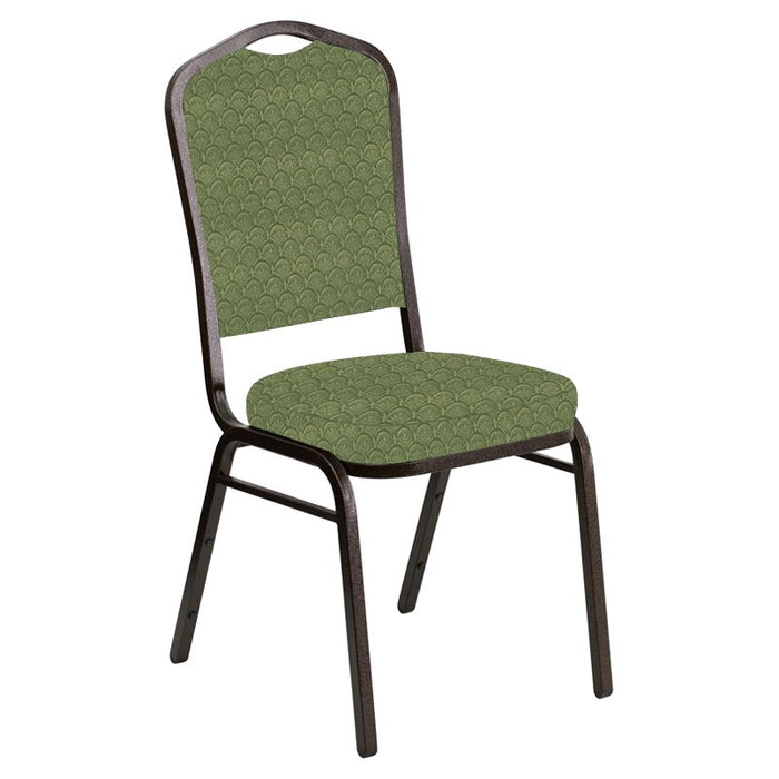 Flash Furniture Crown Back Banquet Chair in Arches Herbal Fabric - Gold Vein Frame