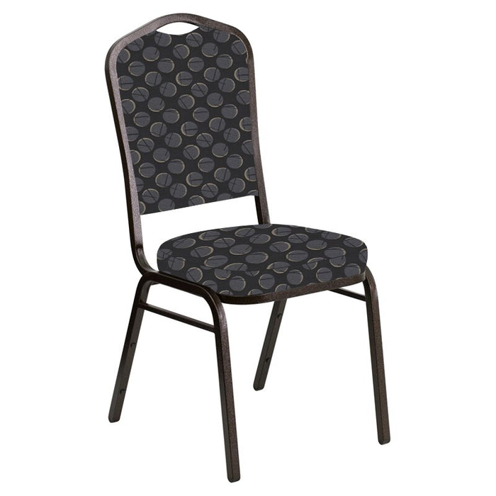 Flash Furniture Crown Back Banquet Chair in Cirque Black Fabric - Gold Vein Frame