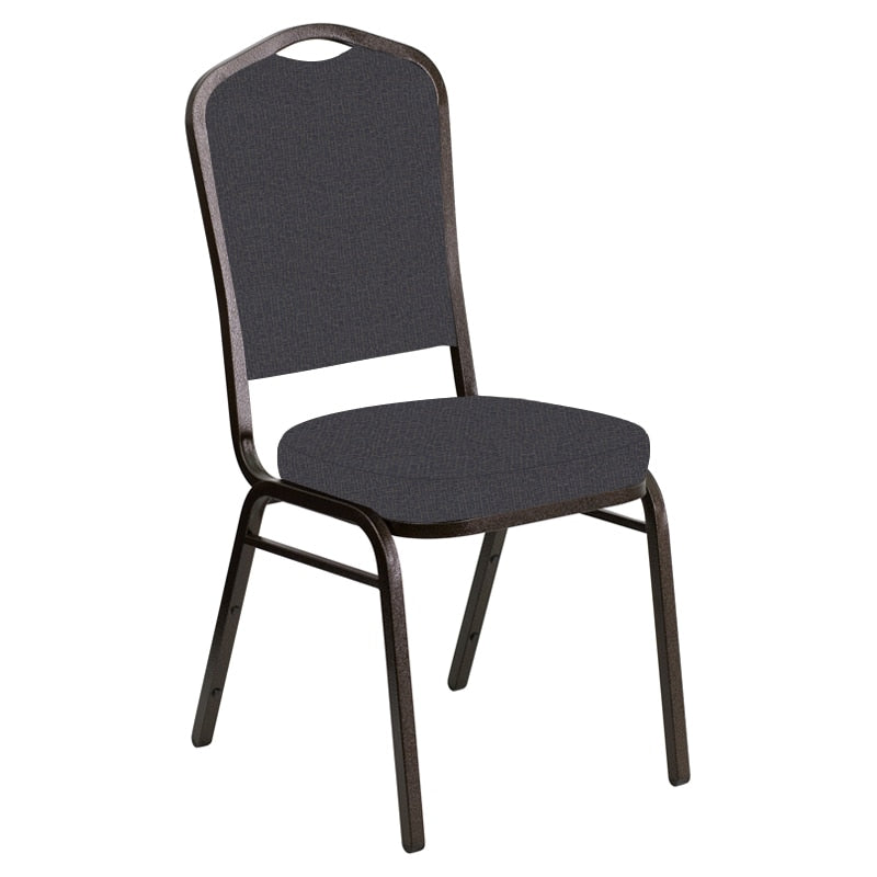 Flash Furniture Crown Back Banquet Chair in Cobblestone Sky Fabric - Gold Vein Frame
