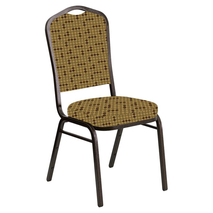 Flash Furniture Crown Back Banquet Chair in Eclipse Amber Fabric - Gold Vein Frame