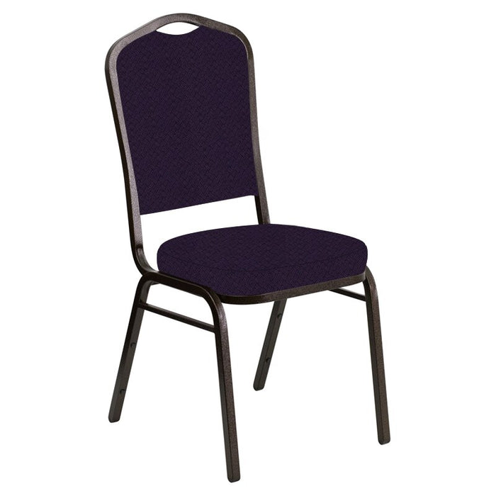 Flash Furniture Crown Back Banquet Chair in Fiji Plum Fabric - Gold Vein Frame
