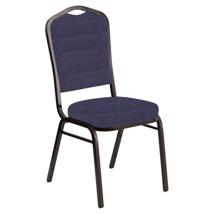 Flash Furniture Crown Back Banquet Chair in Georgetown Plum Fabric - Gold Vein Frame