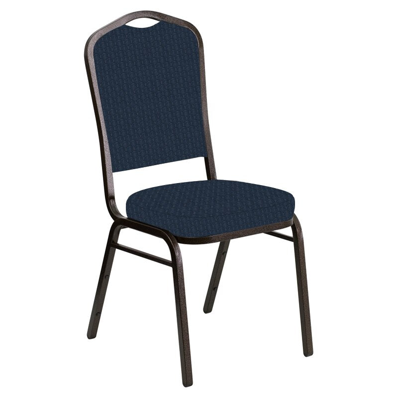Flash Furniture Crown Back Banquet Chair in Grace Academy Fabric - Gold Vein Frame